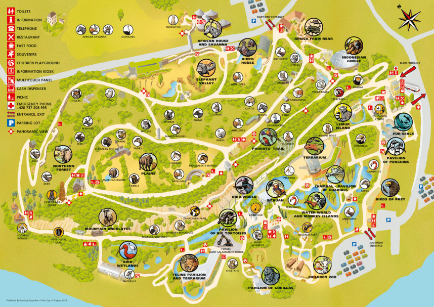 Map of the Prague Zoo