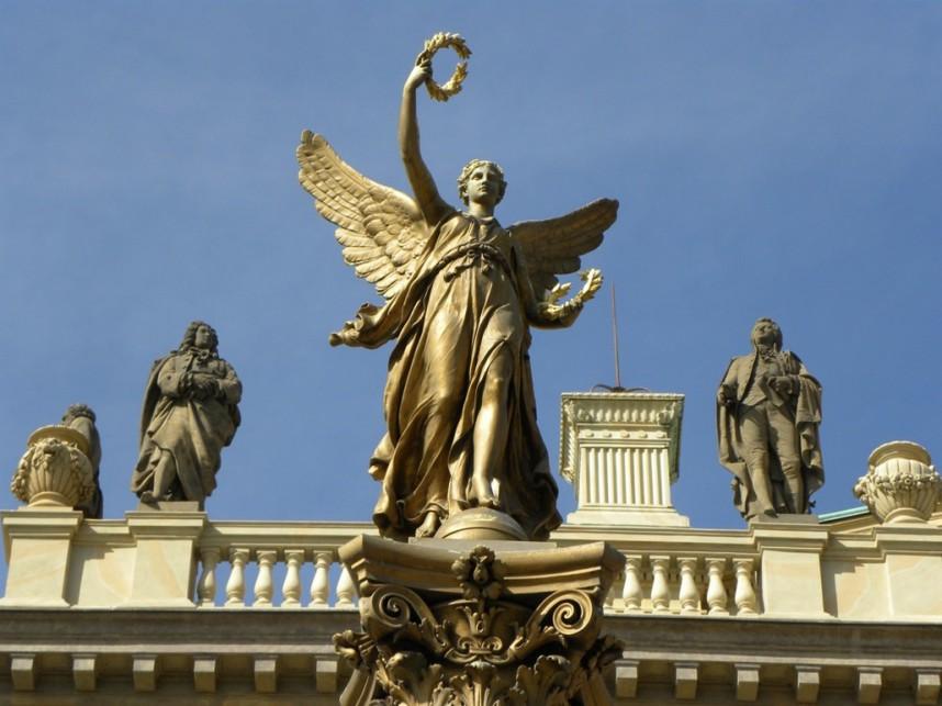 The sculptures on the building, Rudolfinum