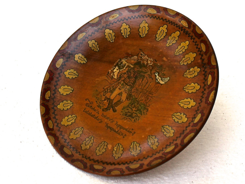 Folk Art Wood Plate