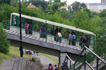 The funicular railway in Prague